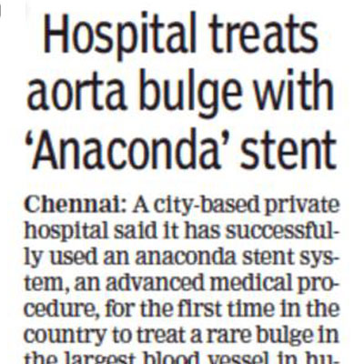 Hospital treats aorta bulge with Ananconda stent - The Times of India
