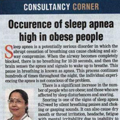 Consultancy Corner: Occurence of sleep apnea high in obese people - DT Next News