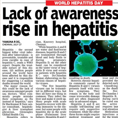 Lack of awareness behind rise in hepatitis cases - Deccan Chronicle News