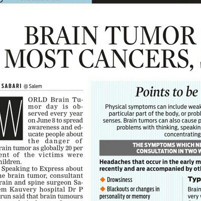 Brain Tumor similar to most cancers says Doctor - The New Indian Express News