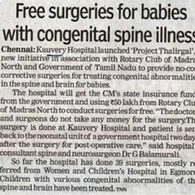 Free surgeries for babies with congenital spine illness - The Times of India News