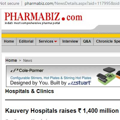 Kauvery Hospitals raises Rs. 1,400 million from LGT Lightstone - Pharmabiz News
