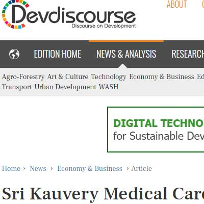 Sri Kauvery Medical Care to raise funds, to expand in South - Devdiscourse News