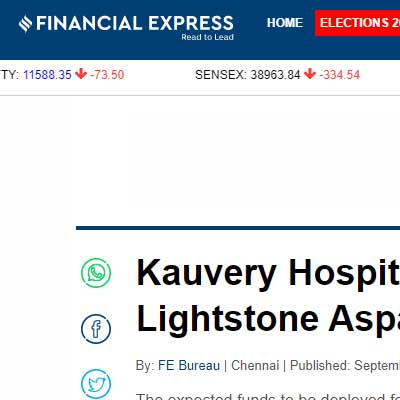Kauvery Hospitals raises Rs 1.40 crore from LGT Lightstone Aspada - Financial Express News