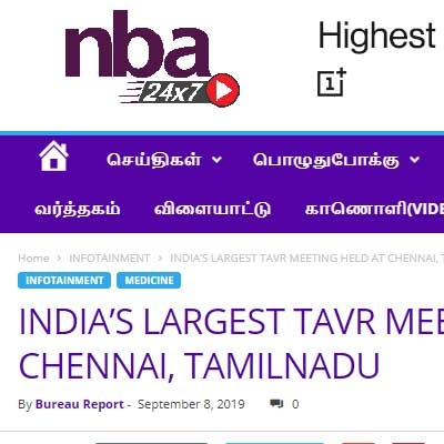 India's largest TAVR meeting held at Chennai, TamilNadu - NBA 24*7