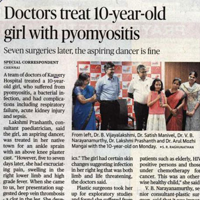 Curing a Child with Pyomyositis to make her dance once again - The Hindu News