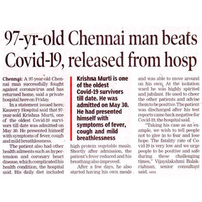 97-year-old man recovers from COVID-19 - The Times of India, Bhubaneswar