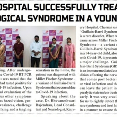Kauvery Hospital enables the recovery of a 14 year old girl with Autoimmune Encephalitis