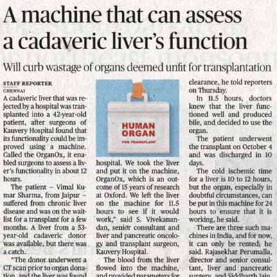 A machine that can assess a cadaveric liver's function - The Hindu