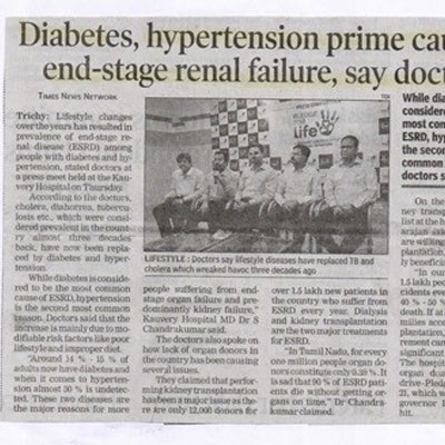 Diabetes hypertension prime cause of end stage renal failure say doctors - Times of India