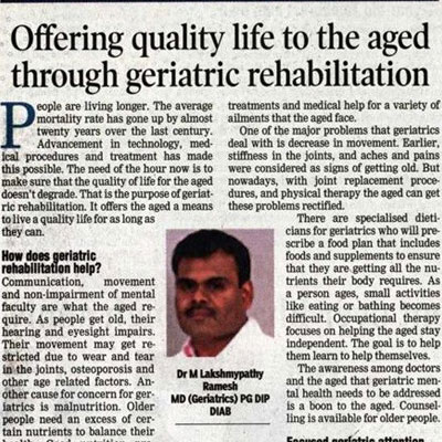 Dr. Lakshmipathi Ramesh on Geriatric rehabilitation - DT Next