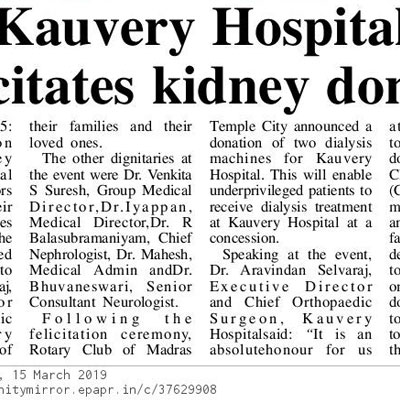 Kauvery Hospital felicitates kidney donors - The New Indian Express