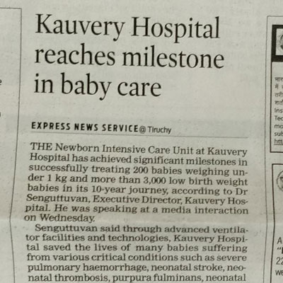 Kauvery Hospital reaches milestone in baby care - The New Indian Express