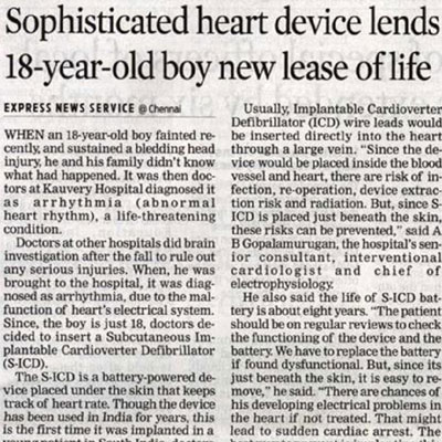 Sophiticated heart device lends 18 year old boy new lease of life - The New Indian Express