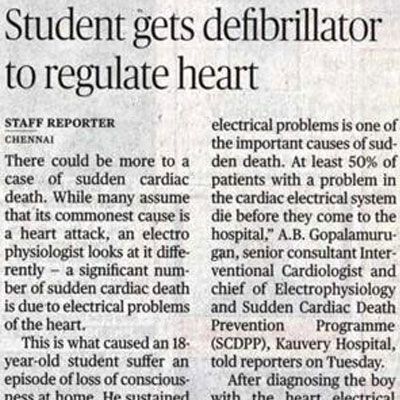 Student gets defibrillator to regulate heart - The Hindu