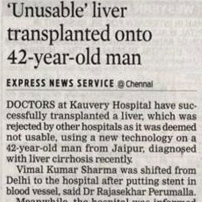 Unusable liver transplanted onto a 42 year old man - The New Indian Express