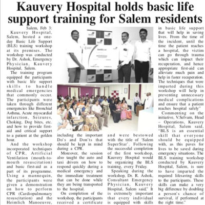 Kauvery Hospital holds basic life support training for Salem residents - Trinity Mirror