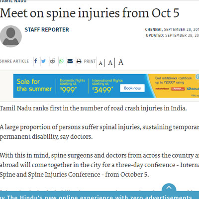 Meet on spine injuries from Oct 5 - The Hindu