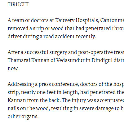 A strip of wood removed from man�s abdomen -  The Hindu