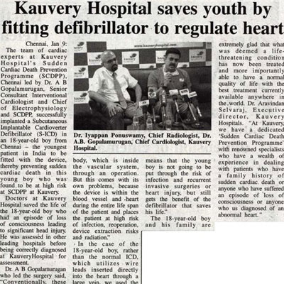 Kauvery Hospital saves youth by fitting defibrillator to regulate heart - Trinity Mirror