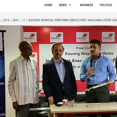 Kauvery Hospital Performs India�s First Anaconda Stent Graft System To Treat Life-threatening Aortic Aneurysm Rupture! - SLS Online