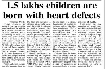 1.5 lakhs children are born with heart defects